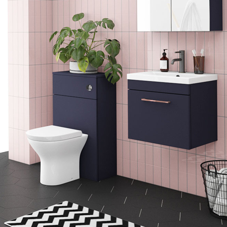 Arezzo Blue Wall Hung Sink Vanity Unit + Toilet Package with Rose Gold Handle