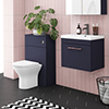 Arezzo Blue Wall Hung Sink Vanity Unit + Toilet Package with Rose Gold Handle profile small image view 1
