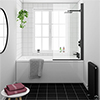 Arezzo Black Straight Hinged Round Shower Bath profile small image view 1