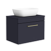 Arezzo Wall Hung Countertop Basin Unit - Blue with Brushed Brass Handle - 600mm inc. Basin profile small image view 1