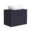 Arezzo Wall Hung Countertop Basin Unit - Blue with Black Handle - 600mm inc. Basin profile small image view 1