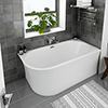 Arezzo 1500 x 750 Modern Curved Corner Bath profile small image view 1