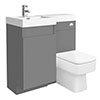 Arezzo 900mm Gloss Grey Combination Bathroom Suite Unit (Inc. Cistern + Square Toilet) profile small image view 1