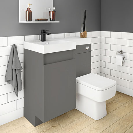 Arezzo 900mm Gloss Grey Combination Bathroom Suite Unit (Inc. Cistern + Square Toilet)