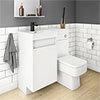 Arezzo 900mm Gloss White Combination Bathroom Suite Unit (Inc. Cistern + Square Toilet) profile small image view 1