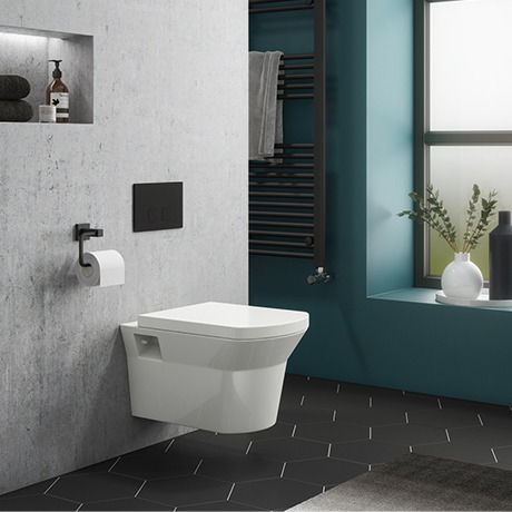 Arezzo Compact Toilet Fixing Frame with Dual Flush Cistern + Modern Toilet