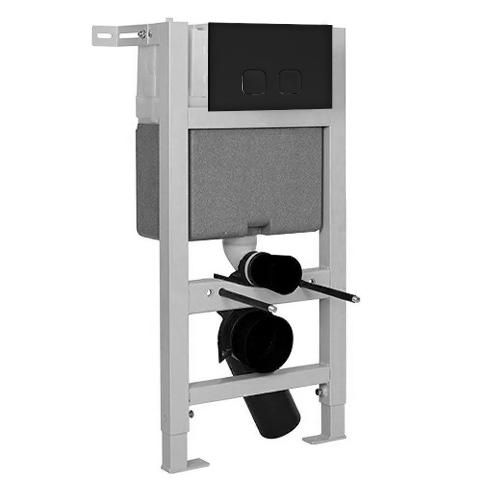 Arezzo Compact Toilet Fixing Frame with Dual Flush Cistern + Matt Black Push Button