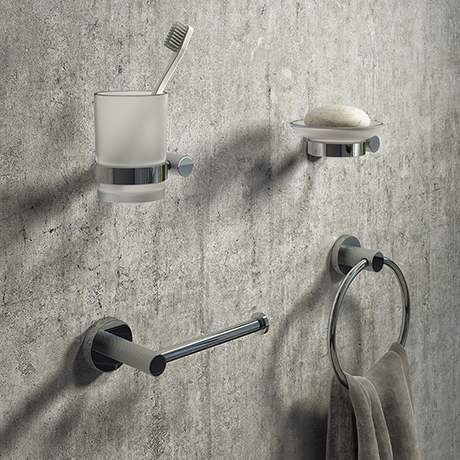 Arezzo Industrial Style Chrome 4-Piece Bathroom Accessory Pack