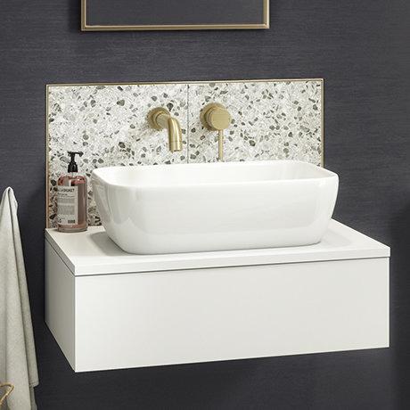 Arezzo Floating Basin Shelf with Drawer - Matt White - 600mm inc. Curved Rectangular Basin
