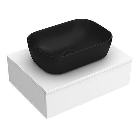 Arezzo Floating Basin Shelf with Drawer - Matt White - 600mm inc. Black Curved Rectangular Basin