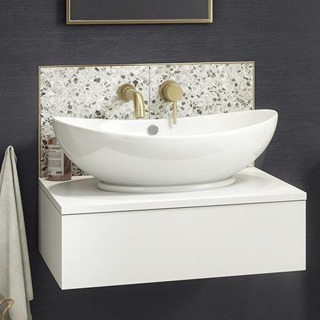 Arezzo Floating Basin Shelf with Drawer - Matt White - 600mm inc. Oval Basin