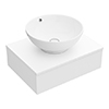 Arezzo Floating Basin Shelf with Drawer - Matt White - 600mm inc. Round Basin profile small image view 1