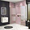 Arezzo 1400 x 900 Fluted Glass Chrome Walk In Enclosure (inc. Main Screen, Side Panel + Tray) profile small image view 1