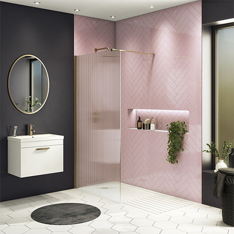 Arezzo 1400 x 900 Fluted Glass Brushed Brass Profile Wet Room (800mm Screen, Square Support Arm + Tr
