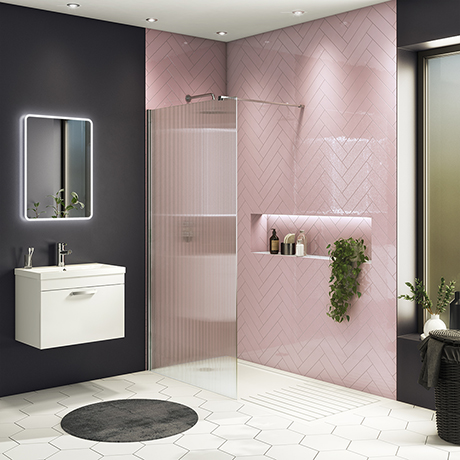 Arezzo Fluted Glass Chrome Profile Wetroom Screen + Square Support Arm