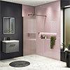 Arezzo 1400 x 900 Fluted Glass Matt Black Profile Wet Room (800mm Screen, Square Support Arm + Tray) profile small image view 1