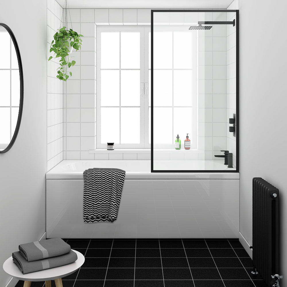 Arezzo Black Framed Fixed Round Single Ended Shower Bath