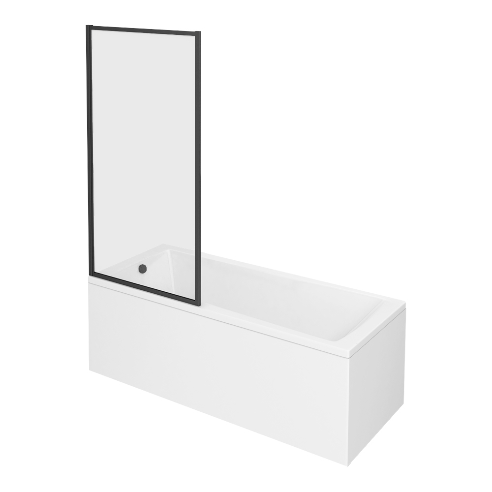 Arezzo Black Framed Fixed Square Single Ended Shower Bath
