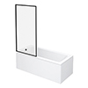Arezzo Black Framed Fixed Square Single Ended Shower Bath profile small image view 1
