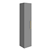 Arezzo Wall Hung Tall Storage Cabinet - Matt Grey - with Industrial Style Brushed Brass Handle profile small image view 1