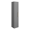 Arezzo Matt Grey Wall Hung Tall Storage Cabinet with Brushed Brass Handle profile small image view 1