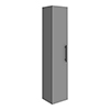 Arezzo Wall Hung Tall Storage Cabinet - Matt Grey - with Industrial Style Matt Black Handle profile small image view 1