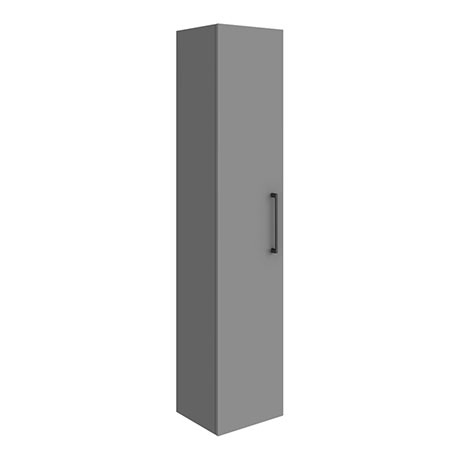 Arezzo Matt Grey Wall Hung Tall Storage Cabinet with Matt Black Handle