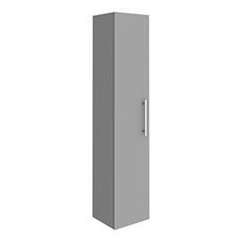 Arezzo Wall Hung Tall Storage Cabinet - Matt Grey - with Industrial Style Chrome Handle