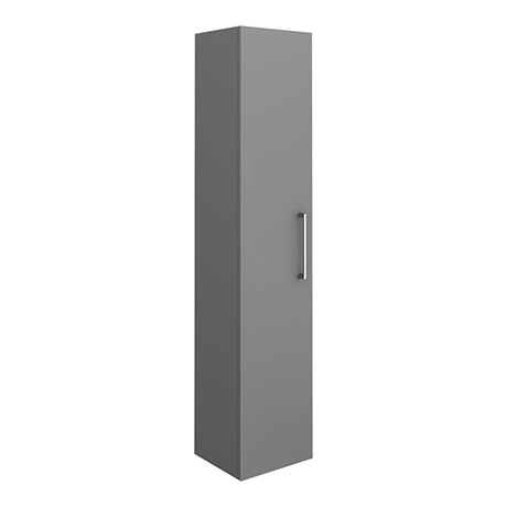 Arezzo Matt Grey Wall Hung Tall Storage Cabinet with Chrome Handle