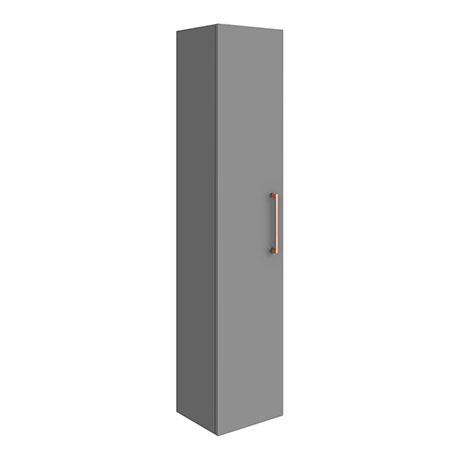 Arezzo Matt Grey Wall Hung Tall Storage Cabinet with Rose Gold Handle