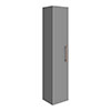 Arezzo Matt Grey Wall Hung Tall Storage Cabinet with Rose Gold Handle profile small image view 1