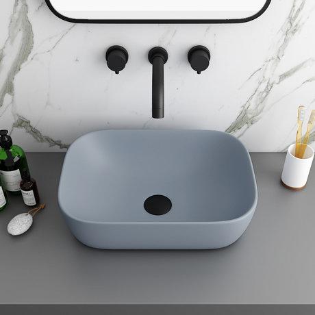 Arezzo 465 x 325mm Matt Grey Curved Rectangular Counter Top Basin