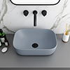 Arezzo 465 x 325mm Matt Grey Curved Rectangular Counter Top Basin profile small image view 1