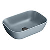 Arezzo 465 x 325mm Matt Grey Curved Rectangular Counter Top Basin profile small image view 1