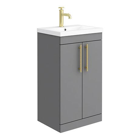 Arezzo Floor Standing Vanity Unit - Matt Grey - 500mm with Industrial Style Brushed Brass Handles