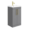 Arezzo Floor Standing Vanity Unit - Matt Grey - 500mm with Industrial Style Brushed Brass Handles profile small image view 1