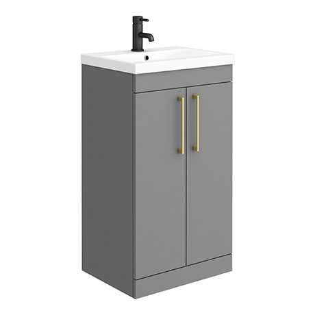 Arezzo 500 Matt Grey Floor Standing Vanity Unit with Brushed Brass Handles