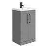 Arezzo 500 Matt Grey Floor Standing Vanity Unit with Matt Black Handles profile small image view 1