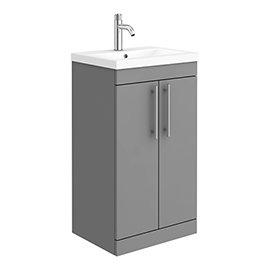 Arezzo Floor Standing Vanity Unit - Matt Grey - 500mm with Industrial Style Chrome Handles
