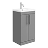 Arezzo Floor Standing Vanity Unit - Matt Grey - 500mm with Industrial Style Chrome Handles profile small image view 1