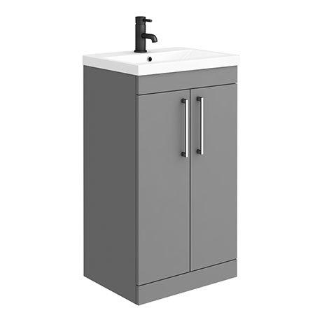 Arezzo 500 Matt Grey Floor Standing Vanity Unit with Chrome Handles