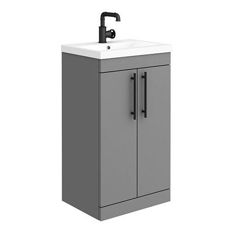 Arezzo Floor Standing Vanity Unit - Matt Grey - 500mm with Industrial Style Black Handles