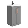 Arezzo 500 Matt Grey Floor Standing Vanity Unit with Rose Gold Handles profile small image view 1