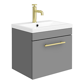 Arezzo Wall Hung Vanity Unit - Matt Grey - 500mm with Industrial Style Brushed Brass Handle