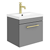 Arezzo Wall Hung Vanity Unit - Matt Grey - 500mm with Industrial Style Brushed Brass Handle profile small image view 1
