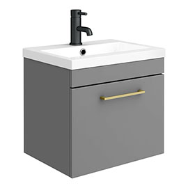 Arezzo 500 Matt Grey Wall Hung 1-Drawer Vanity Unit with Brushed Brass Handle
