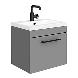 Arezzo Wall Hung Vanity Unit - Matt Grey - 500mm with Industrial Style Black Handle