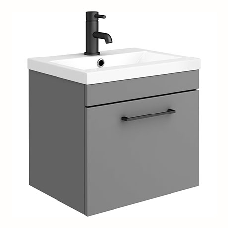 Arezzo 500 Matt Grey Wall Hung 1-Drawer Vanity Unit with Matt Black Handle