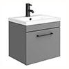 Arezzo 500 Matt Grey Wall Hung 1-Drawer Vanity Unit with Matt Black Handle profile small image view 1