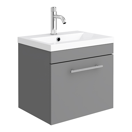 Arezzo Industrial Style 500 Matt Grey Wall Hung Vanity Unit with Chrome Handle